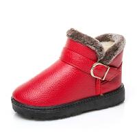 儿童雪地靴 防水防滑男女童棉靴子女孩低筒短靴加绒公主棉鞋