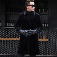 秋冬装皮毛一体羊剪绒男外套中长款修身皮草大衣男士真皮皮衣 黑色【羊毛】