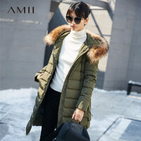 Amii极简时尚貉子大毛领90绒羽绒服2018冬装新款连帽宽松长款外套.