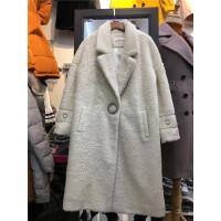 W5大衣女中长款加厚韩版翻领修身显瘦仿貂绒毛呢外套冬季1.35