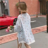 2018夏季雪纺防晒衣女沙滩度假开衫超薄款碎花流苏空调外套