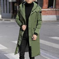 男士冬季新款潮流纯色连帽棉衣男中长款修身棉服过膝冬装棉袄外套