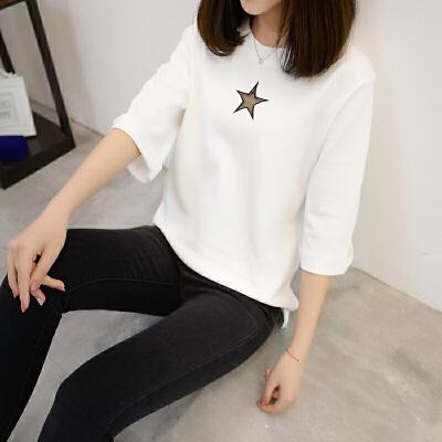 短袖t恤女宽松2018夏季新款圆领条纹短袖针织衫韩版百搭潮
