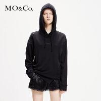 MOCO2019春季新品字母印花做烂破洞连帽卫衣MAI1SWS003 摩安珂