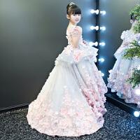 �Q白女童大拖尾模特走秀礼服婚纱钢琴演出蓬蓬裙儿童礼服花童公主裙冬 花色