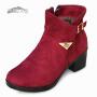 欣清老北京布鞋女鞋冬季新款加厚保暖女靴子加绒雪地靴坡跟中筒靴
