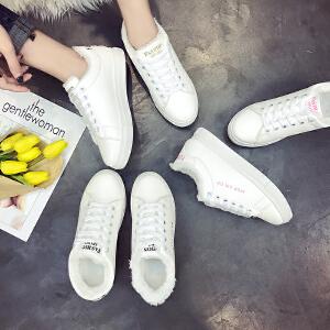 2017冬季系带韩版学生百搭小白鞋女加绒加棉保暖圆头运动风休闲鞋