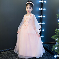 女童公主裙长裙婚纱儿童走秀晚礼服钢琴演出服花童蓬蓬裙长袖春季