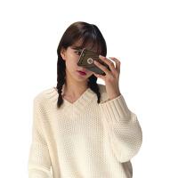 秋季女装韩版学院风V领套头毛衣宽松纯色复古加厚长袖针织衫上衣 均码