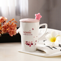 马克杯 创意樱花带盖勺陶瓷马克杯花卉牛奶咖啡杯茶杯学生男女水杯生活用品