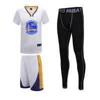 短袖篮球服三件套运动套装新款儿童同款短袖球服詹姆斯库里球衣可DIY个性定制 28# 155cm-160cm