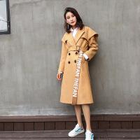 秋冬女装纯色毛呢外套韩版街头双排扣字母腰带宽松毛呢大衣
