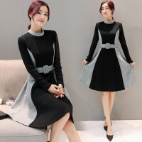 长袖年春季时尚连衣裙宽松优雅韩版中长款修身 图片色