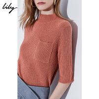 Lily2019秋冬新款女装多色高领气质罗纹短袖毛针织套头衫8944