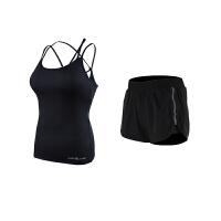 夏季性感空中瑜伽服两件套吊带背心健身运动套装女带胸垫紧身显瘦