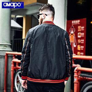 【限时抢购到手价:180元】AMAPO潮牌大码男装秋季加肥加大胖子宽松棒球服薄款外套夹克男潮
