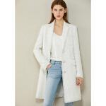 Amii极简轻奢小优雅香风粗花呢外套2020冬季新款显瘦单排扣大衣女