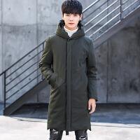 新款冬季男士羽绒服中长款修身加厚青年韩版连帽白鸭绒外套潮