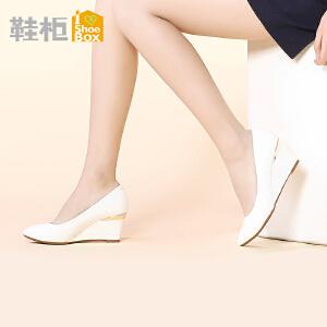 达芙妮旗下Daphne/鞋柜尖头高跟欧美通勤OL坡跟单鞋