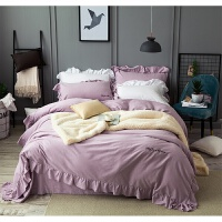 家纺秋冬简约加厚纯棉磨毛四件套荷叶花边纯色素色被套床上用品1.8m