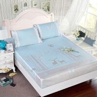 600D冰丝席床笠款三件套可水洗 欧式1.5m/1.8米床罩式夏天凉席子 蓝色 小鹿