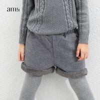 AMII童装冬装新款女童纯色休闲裤中大童毛呢外穿短裤儿童加厚靴裤