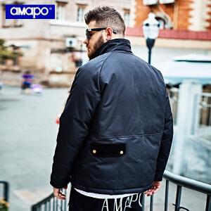 【限时抢购到手价:195元】AMAPO潮牌大码男装加肥加大码宽松胖子嘻哈短款棉衣肥佬外套男