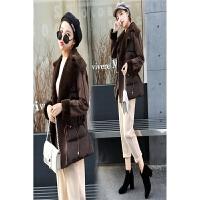 冬季韩版时尚翻领拼接麂皮绒女短款皮毛一体宽松加厚棉衣外套