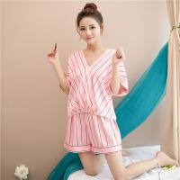 睡衣女夏短袖两件套韩版冰丝性感夏季薄款丝绸学生清新家居服套装