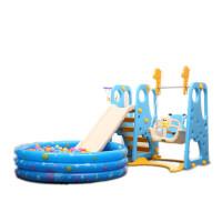 儿童滑滑梯室内家用游乐场三合一幼儿园室外宝宝滑梯秋千组合套装 +球池+300球