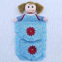韩版小清新碎花可爱女孩娃娃卫生间卷纸纸巾套挂式布艺收纳袋挂袋杂物整理袋储物袋 收纳袋