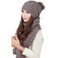 韩版女冬天帽子围巾两件套一体保暖咖啡套装套件二件套