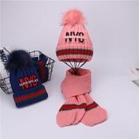 儿童帽子围巾套装秋冬季男童女童针织加绒毛线帽中童韩版宝宝围脖