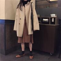 韩观秋冬女装外套2018韩版女神chic百搭宽松妮子小个子中长款毛呢大衣 均码