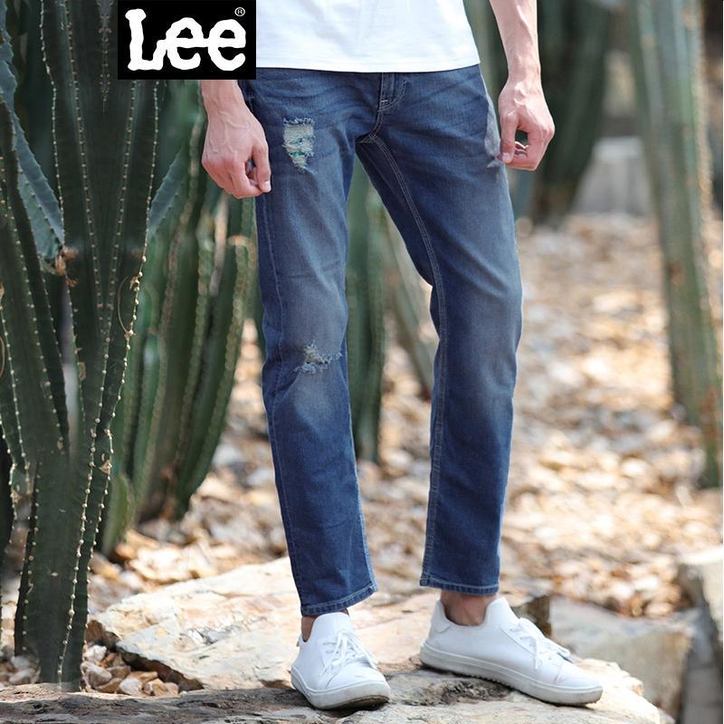 Lee男装 精玉透凉商场同款2017新品水洗牛仔裤 L15722P664MB722版型;低腰修身直脚;精玉透凉系列
