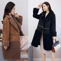 韩版一衣两穿羊卷毛大衣女中长款2017新款宽松拼接皮毛一体外套潮