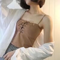 长款抹胸小心机胸前交叉绑带性感吊带背心内衣女带胸垫一体胸衣 均码
