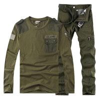 自由骑士秋季男装户外休闲迷彩服军迷男款纯棉长袖T恤军裤套装