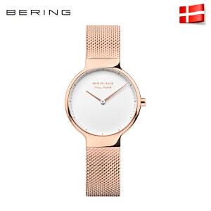 bering白令手表女时尚简约个性钢带玫瑰金腕表女士防水石英表155