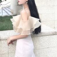 韩观春夏新款女装气质系带荷叶边宽松显瘦学生性感吊带欧根纱上衣女 米杏色 均码