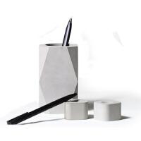 水泥笔插创意笔筒多功能办公用品收纳盒时尚简约文具几何