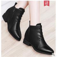 雅诗莱雅冬季新款加绒英伦风女鞋平底坡跟短靴内增高女靴子系带马丁靴