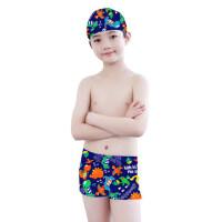 儿童游泳衣男童游泳裤青少年中大童男孩平角泳裤泳帽泳镜套装