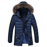 冬季新款中老年爸爸装中长男士加绒加厚羽绒大码男装外套棉袄