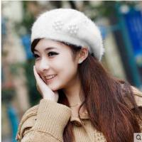 女 韩版时尚珍珠潮可爱 毛线帽兔毛针织女士贝雷帽 帽子