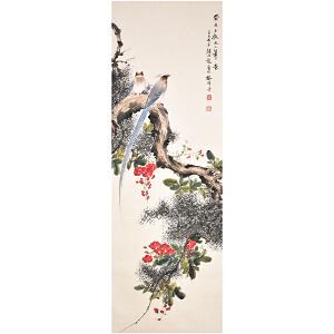 D2190颜伯龙《绶带鸟》(北京文物公司旧藏,原装旧裱满斑)