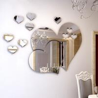 心形镜面装饰3D水晶立体墙贴温馨创意客厅卧室婚房亚克力背景墙贴 超