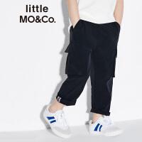 littlemoco春季新品男童裤子风琴口袋松紧腰工装休闲长裤