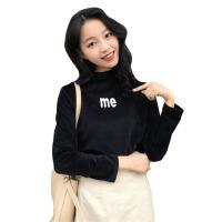 秋冬女装韩版chic丝绒半高领字母修身显瘦长袖打底衫T恤上衣学生 均码