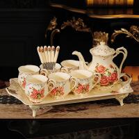 送新人结婚礼物实用闺蜜新婚礼品乔迁新居创意欧式茶具套装带托盘 象牙黄 玫瑰 6杯1壶1托(礼盒)JW